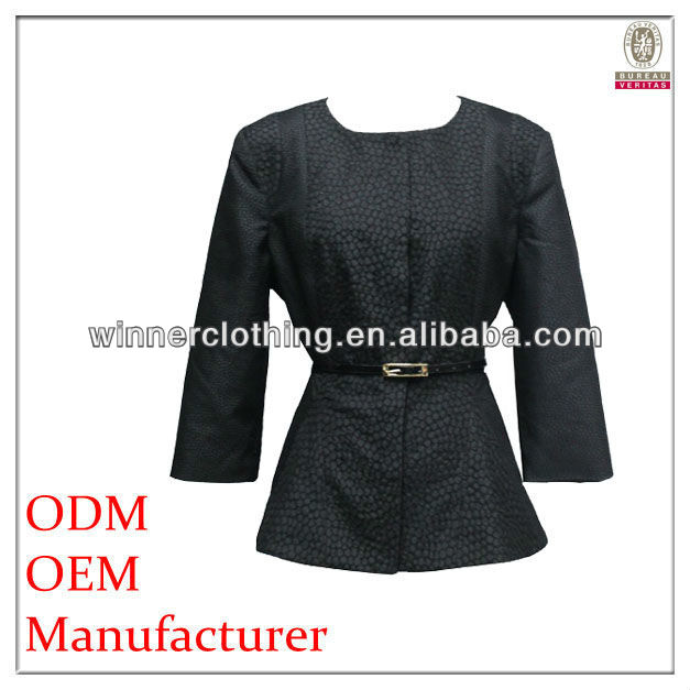 High Fashion Peplum 3/4 Sleeve Elegant Women Black Suits