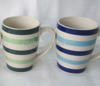 Circles Design Handpainted Ceramic Coffee Mugs