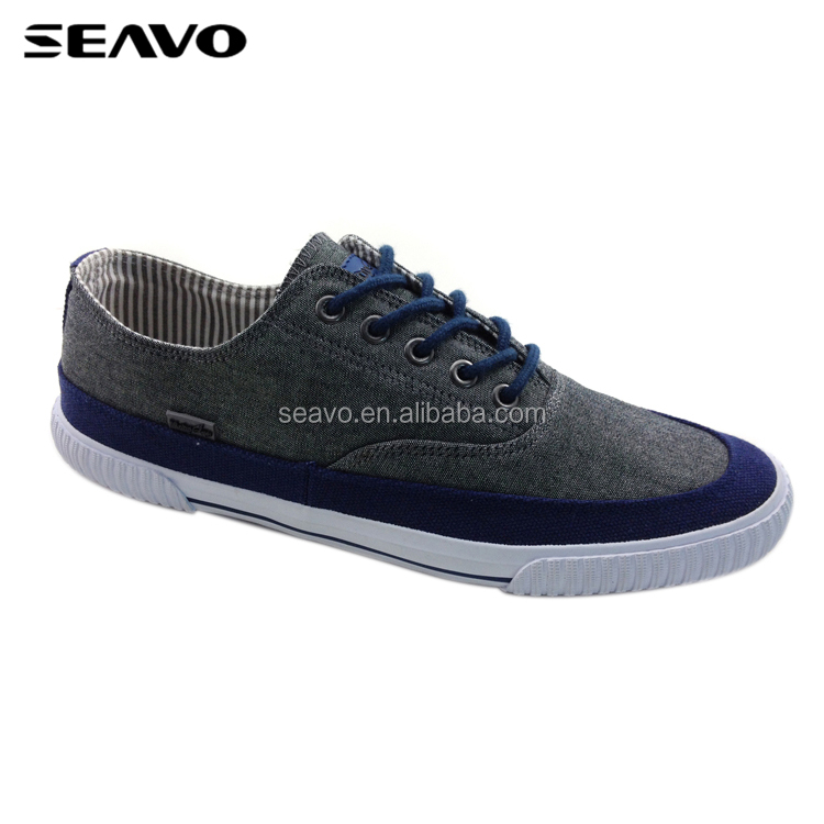 SEAVO SS18 latest rubber sole style navy nubuck upper men canvas sneakers