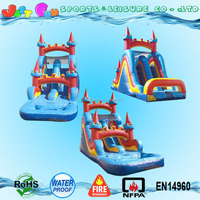 double lane inflatable water slides with climbing n pool for sale