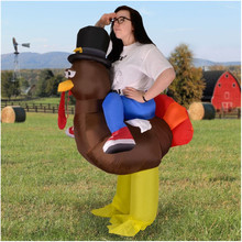 Adult size riding inflatable brown turkey wearing top hat christmas mascot costume