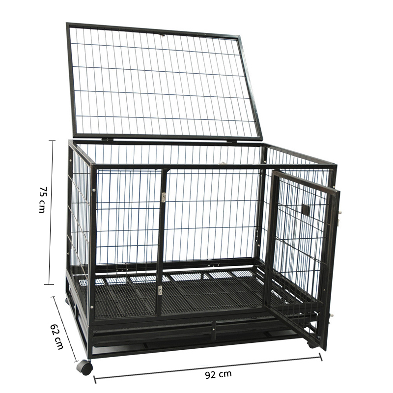 heavy duty square tube and metal wire dog cage