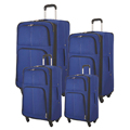 new product 4 pcs blue spinner expandable soft fabric travel bag luggage set