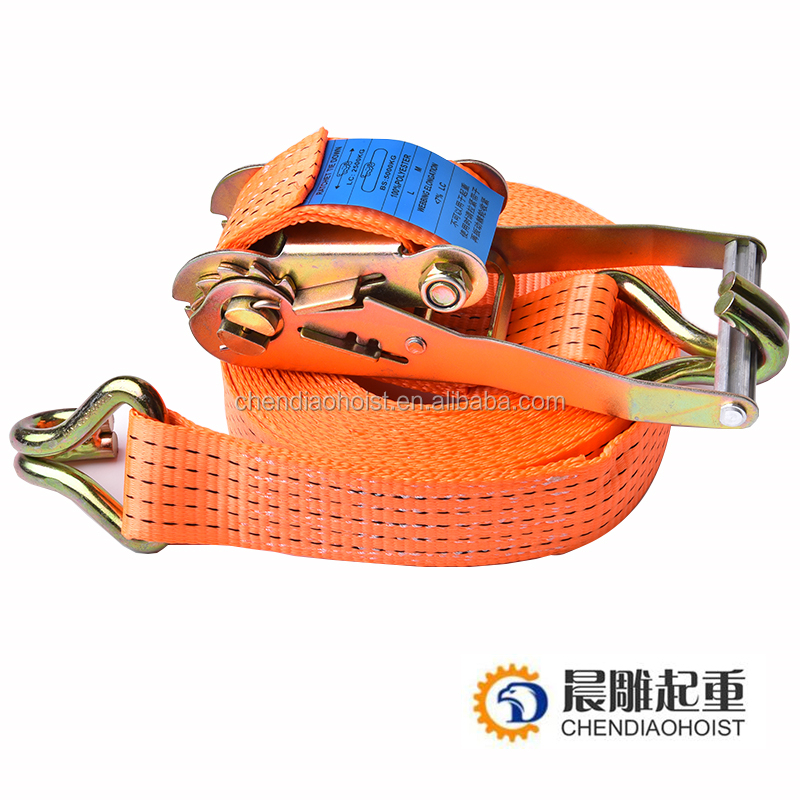 "2"" 5T tension ratchet lashing strap belt with double J hook/ratchet lashing strap"