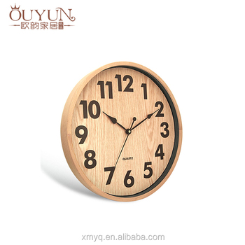 CE ROHS 12inch modern simple natural wooden wall clock