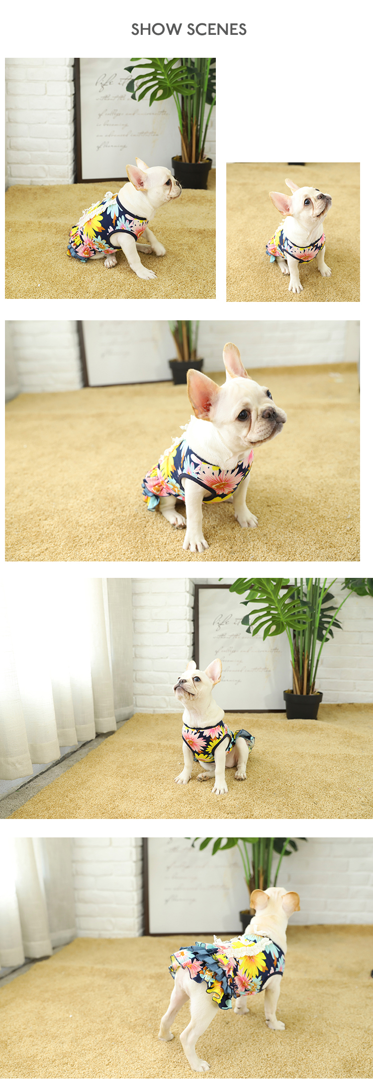 Tianyuan Pet Comfortable Spring Summer Absorb Sweat Dog Clothe Flower Dress