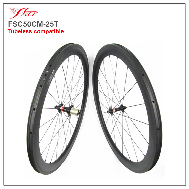 Tubeless compatible carbon clincher wheelset 50mm rims, 700C racing road bicycle wheels with Novatec A291SB/F482SB road hub
