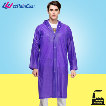 durable reusable long adult pvc rain jacket in transparent colorful