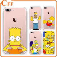 THE SIMPSONS Cartoon Cell Phone Case Soft TPU Jelly Cover for iPhone 6/6s/7/PLUS Cover Shell Bag