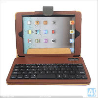 tablet case bluetooth keyboard leather case for ipad mini P-iPDMINICASE119