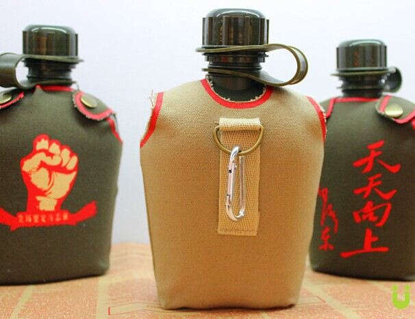 2014 wholesale hot sell 1 L plastic US military army canteen water bottles with cover and aluminum cups surplus store