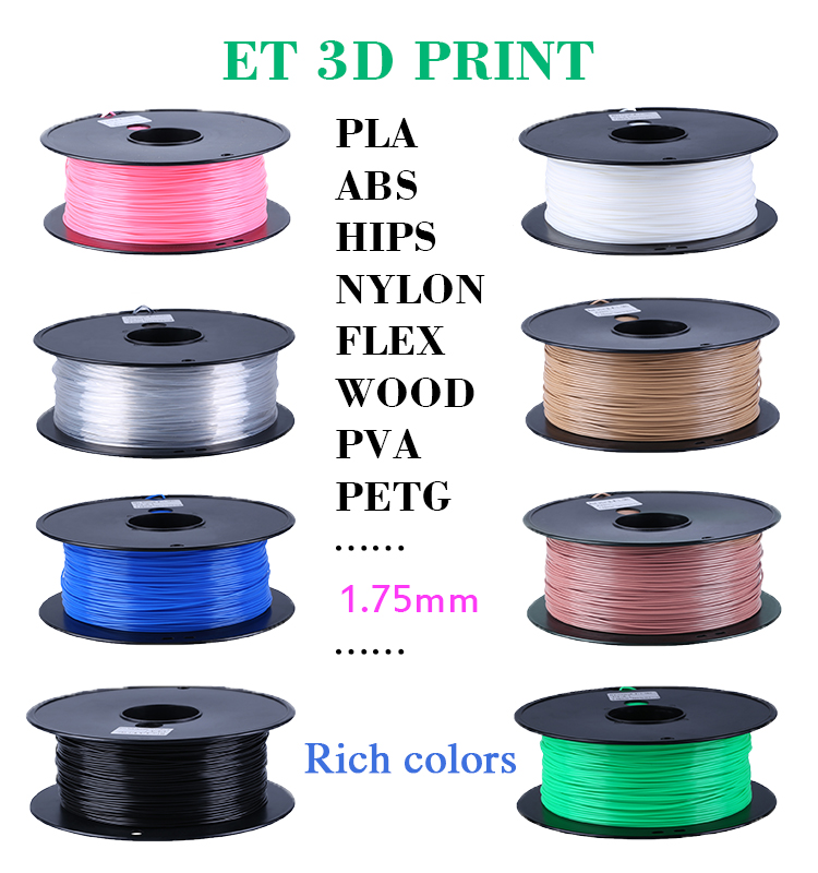 beste 1 75mm 3mm abs pla 3d drucker material lieferant 0 5 kg 1 kg 3 kg pla filament 1 75mm f r. Black Bedroom Furniture Sets. Home Design Ideas