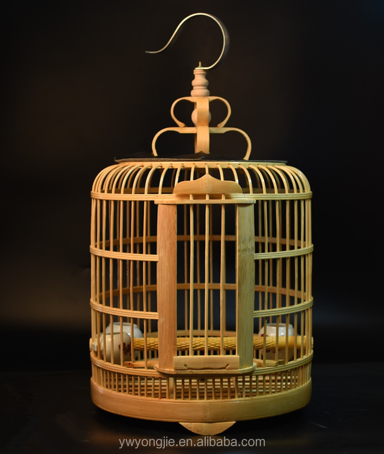 Factory Wholesale Pet Accessories Bamboo Bird Cages Large Round Canary Bird Cage