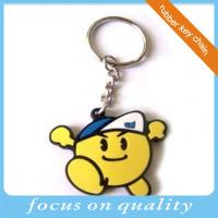 high quality micro injection recessed promotional custom molded plastic yellow lovely 2d pvc logo key chain
