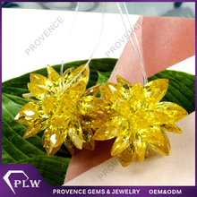 Cheapest charm yellow color cz stones flower for Christmas decoration Buyer