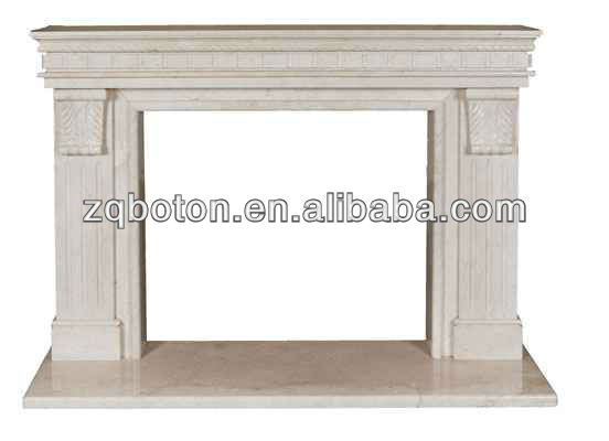 cream marble stone fireplace
