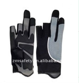 Two fingers cut synthetic leather with PVC mechanic glove