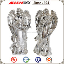 6.1 inch two silver standing resin wing angel figurines for Thanksgiving