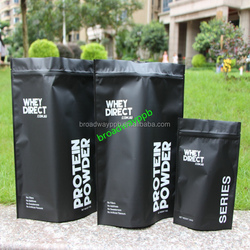 customize matte black aluminum foil stand up airtight zipper pouches for coffee protein powder food