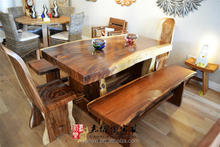 Solid slab suar wood dining table and chair ATC-029