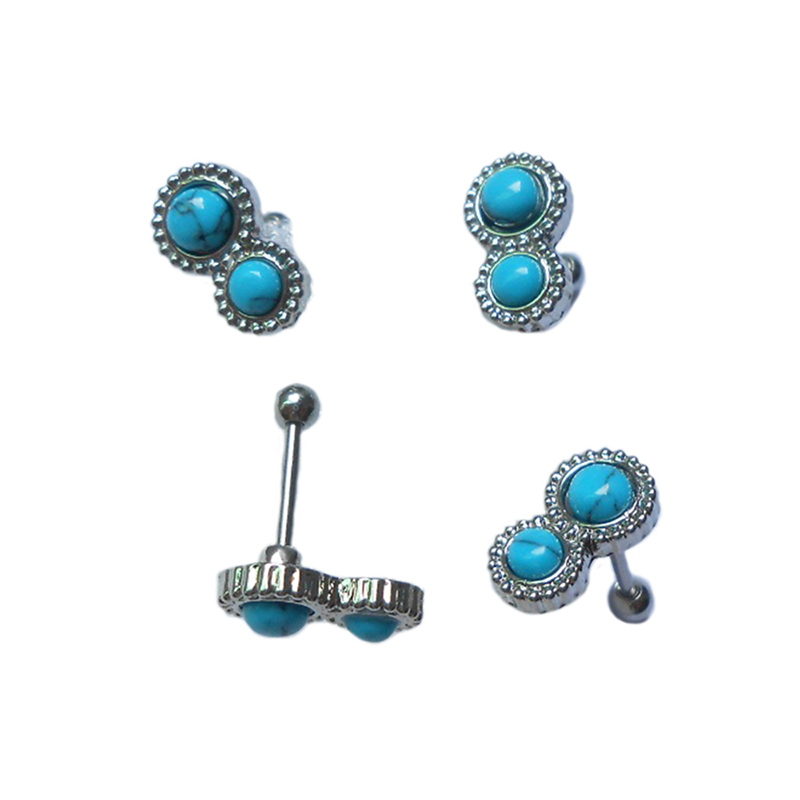316 stainless steel cartilage earring rings stud with synthetic stone