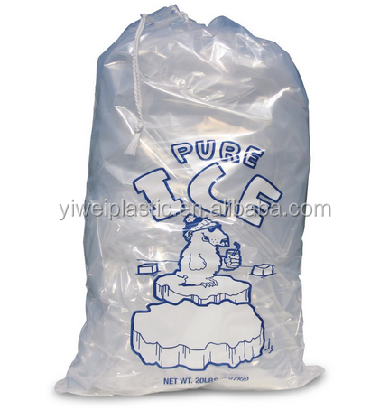 20 lb. Plastic Ice Bags with Drawstrings 13 in x 23 in x 1.85 mil Case:250