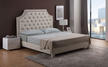 faux leather fabric upholstered bed, nailhead decoration, king, beige
