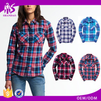 2016 Guangzhou Shandao New Autumn Casaul Design Long Sleeve Checked Printed Cotton Pictures Of Blouses For Girls