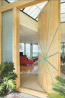 Natural Solid wood exterior door with curved pattern
