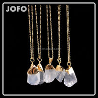 Crystal Clear Quartz Gem Necklace Gold Plated Natural Druzy White Stone Pendant Necklace