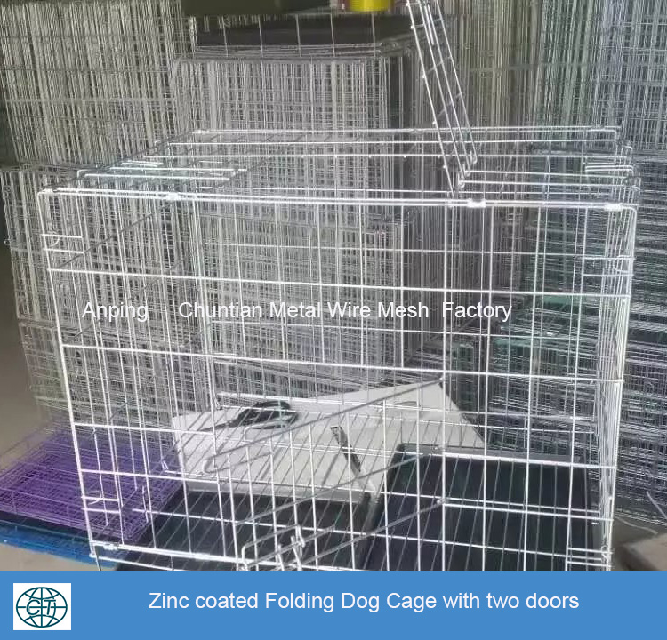 Low price hot sales metal wire powder coated folding dog cage folding pet cage folding pet kennel with plastic tray