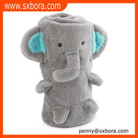 Hot selling coral embroidery elephant baby blanket