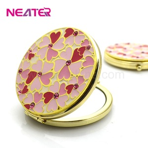 Sparkling crystal compact mirror metal antique pocket mirror