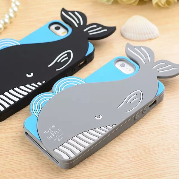 animal shape 3D silicone whale feedme case for iphone 5