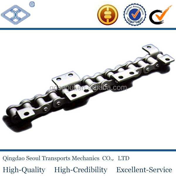 C2120 ISO DIN standard steel double pitch 76.2mm conveyor chain with K2 attachment