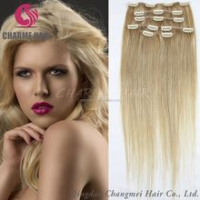 Newest Style Brazilian Virgin Human Hair Clip In Extension Silky Straight Blonde Color With Clips Fashion Style For White Women