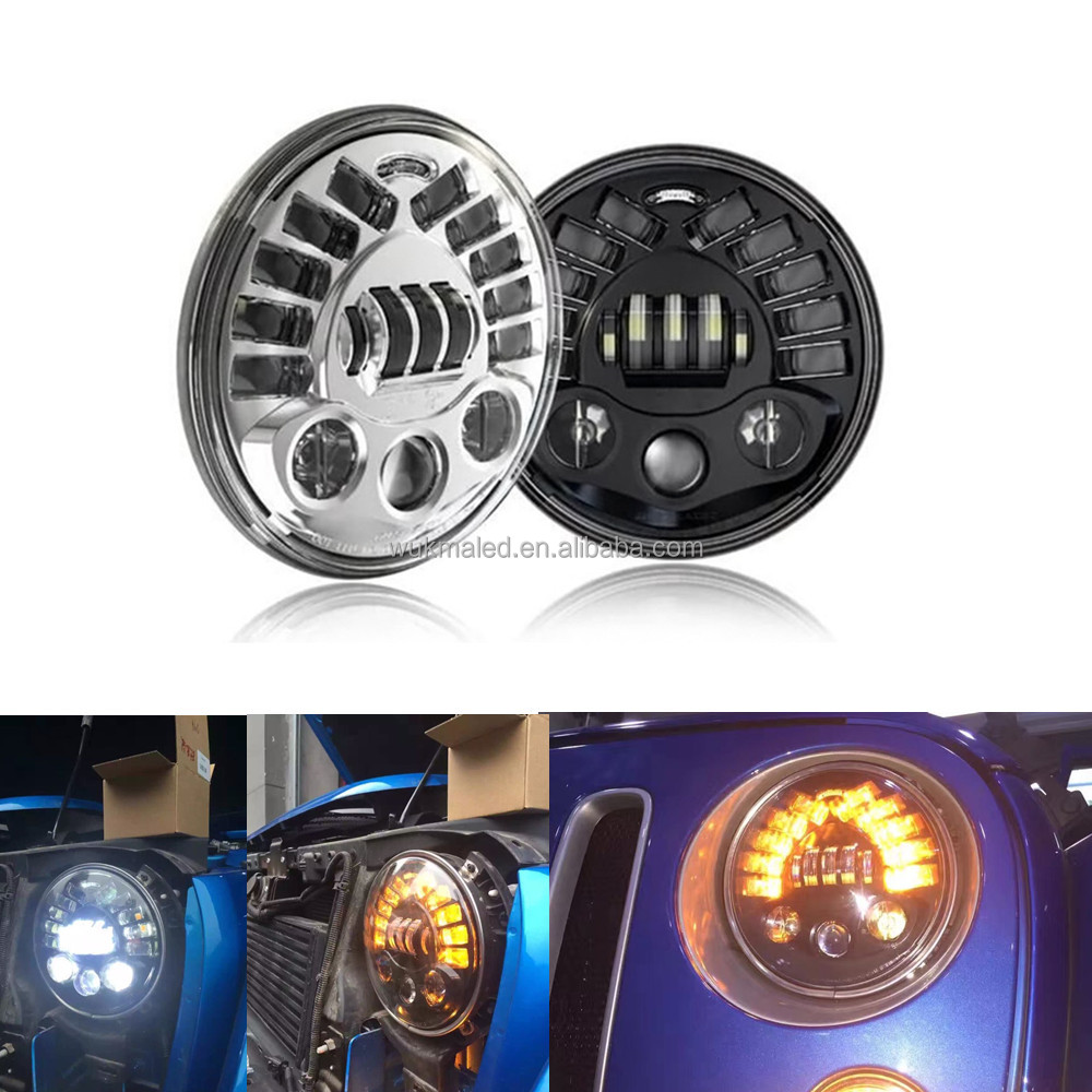 Wrangler 7 Inch Led Projector Headlights With DRL Left Right Turn Signal For Jeep JK TJ Landrover Offroad Defender