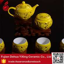 Double wall cups gold plated tea set yellow antique hand printing gold plated tea cup set