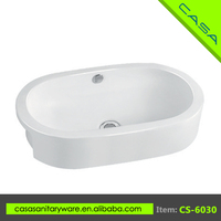 CS-6030 Elegant design concise oval above counter art hand washing basin