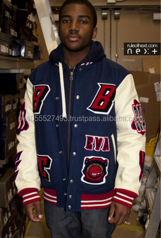 leather versity jacket with chenille patches
