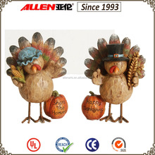 "7.1""a couple of ovely polyresin turkey figurines for Thanksgiving,Hot sale!"