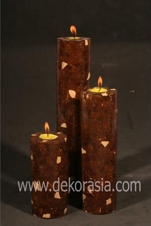 Candle Holder Set Of 3 - Material Coconut Shell