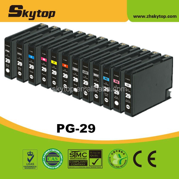 PGI-29 compatible canon 100% new Ink cartridge with dye ink, reset chip