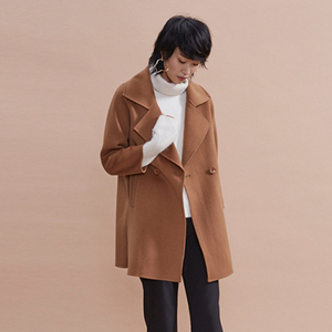 latest design korean style wide lapel handmade wool coat