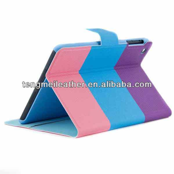 NEW! Pink Blue Purple Protective with folding cover for Apple Ipad Mini,Mixed colour fashion and power case for ipad ,walllet st