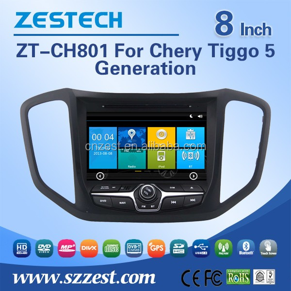 ZESTECH CE/FCC/ROHS certification 8'' screen size in-dash car dvd player for Chery Tiggo 5 car accessories with car radio GPS