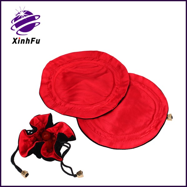 Customized Chinese red silk satin jewelry drawstring bag with lucky logo