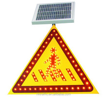 CE approval trigon aluminium alloy solar powered led traffic sign