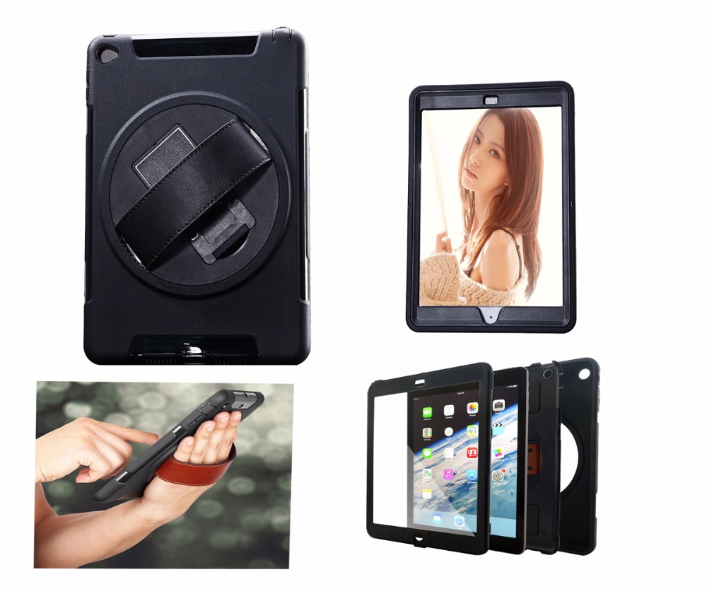 360 Degree Rotation Kickstand Case Cover For iPad Air 2 With Hand Strap