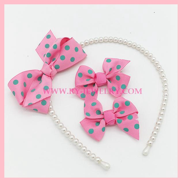 Kids ribbon hair accessories headband with hair clip